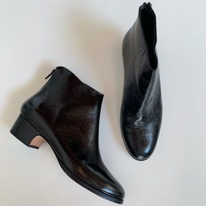 Rachel Comey Typer Crinkle Patent Ankle Boots